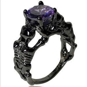 Gothic Purple Gem Black Skeleton Skull Ring